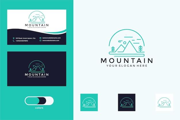 Montanha com design de logotipo de estilo de linha e cartão de visita