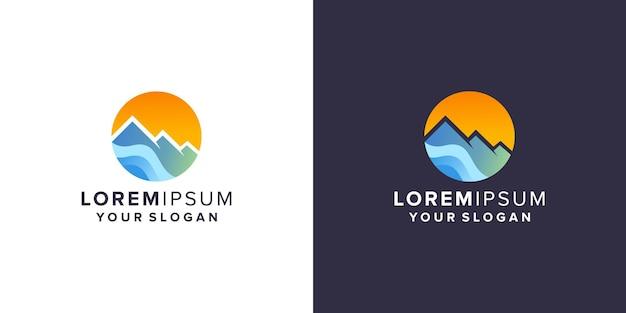 Montanha com design de logotipo de praia