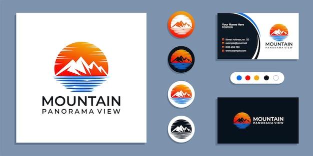Montanha com mar, panorama do logotipo da praia e inspiração do modelo de design de cartão de visita