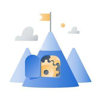 Montanha com rodas dentadas, estratégia de sucesso, mentalidade de crescimento, conceito de desafio de negócios, próximo nível, meta de alcance, trabalho em equipe, motivação de longo prazo