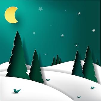 Montanha de arte de papel no inverno