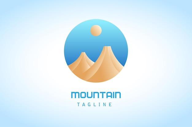 Montanha de círculo marrom azul com logotipo gradiente de lua
