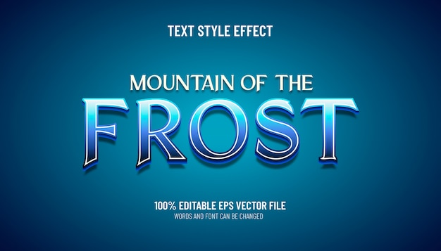 Montanha de efeitos de texto editável do estilo de jogo de geada