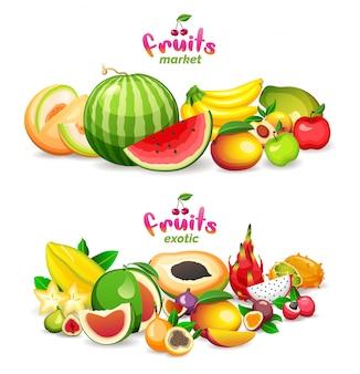 Montanha de frutas exóticas no fundo branco, logotipo da loja do mercado de frutas e bandeira.
