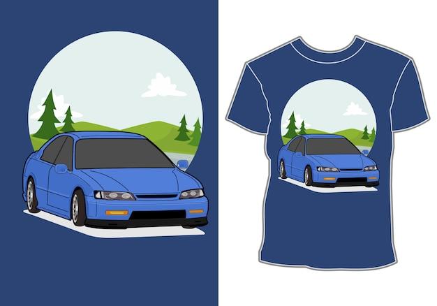 Montanha de fundo de carro sedan, ilustração para impressão de camiseta