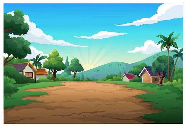 Montanha de ilustração vetorial e céu cor brilhante