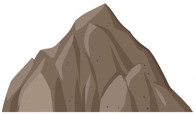 Montanha de rocha isolada no fundo branco