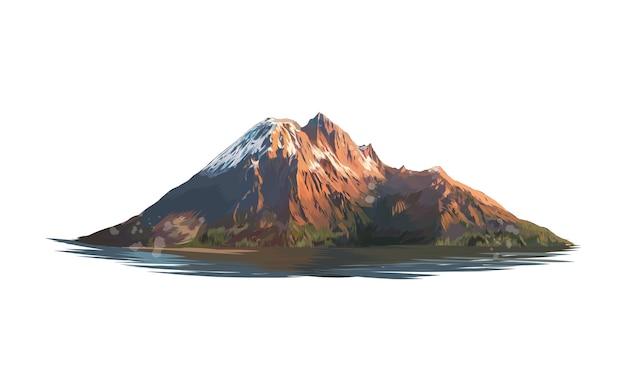 Montanha de um toque de aquarela, desenho colorido.