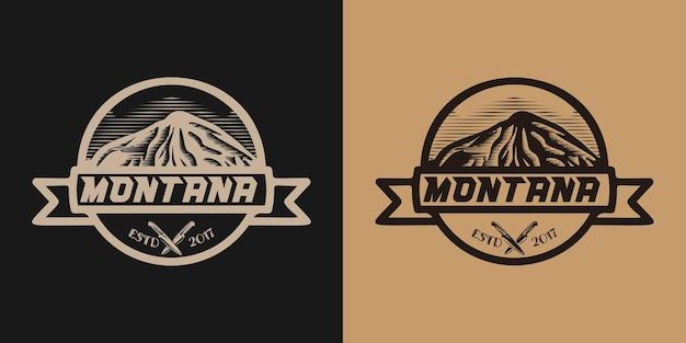 Montanha desenhada à mão, faca, logotipo de aventura design