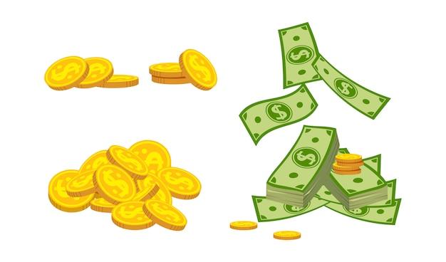 Montanha desleixada de notas de papel e moeda dos desenhos animados, pequeno conjunto. pilha de moedas de ouro, moeda bancária