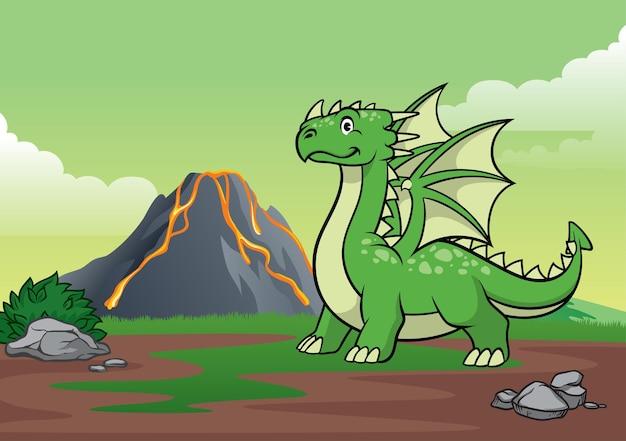 Montanha do dragão e vulcão