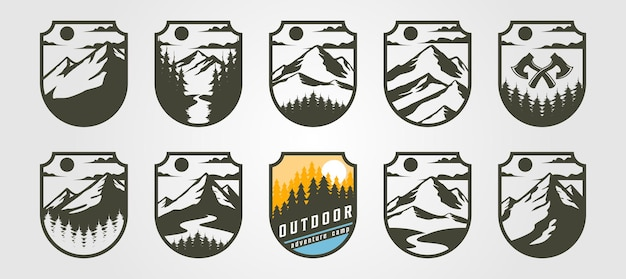 Montanha do logotipo do emblema da aventura