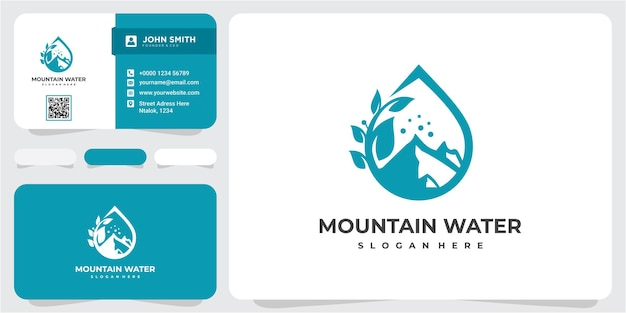 Montanha e água logo business template vector. vetor de design de modelo de logotipo de montanha e água, emblema, conceito de design, símbolo criativo, ícone