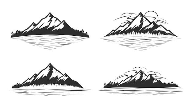 Montanha e floresta de coníferas perto de lago ou rio