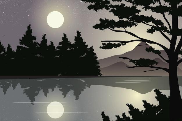 Montanha e floresta de pinheiros com vista para o lago ao luar. belo cenário noturno na paisagem riverside