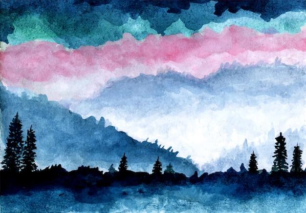 Montanha e pinheiros com aquarela