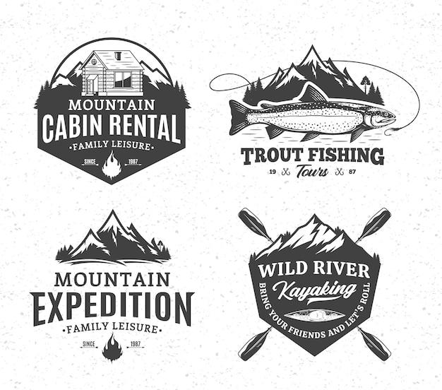 Montanha e recreação ativa ao ar livre e emblemas de turismo