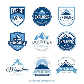 Montanha emblemas de aventura