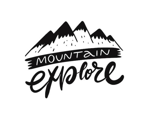 Montanha explorar design de ilustração de frase de letras