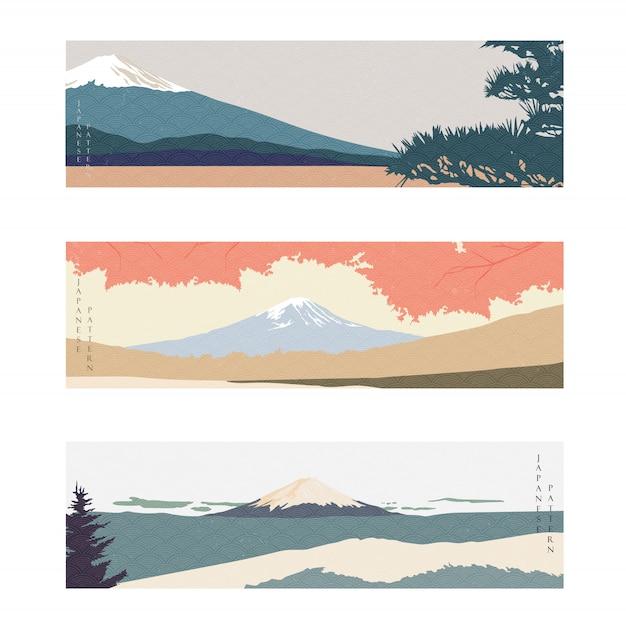Montanha fuji com padrão de onda japonês. banner de paisagem natural. fundo da arte abstrata.