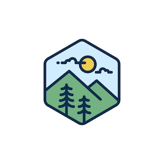 Montanha, hipster adventure travelling logo