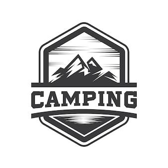 Montanha hipster e camping logo vector