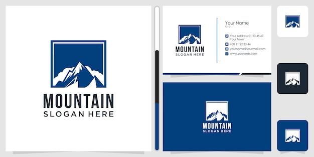 Montanha logo design símbolo ícone modelo cartão de visita premium