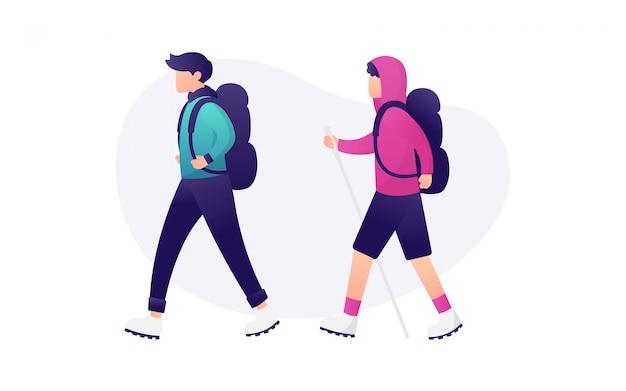 Montanha moderna caminhadas pessoas conjunto de caracteres