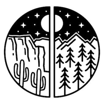 Montanha monoline e penhasco design de crachá vintage ao ar livre