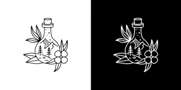 Montanha na garrafa com flor monoline design