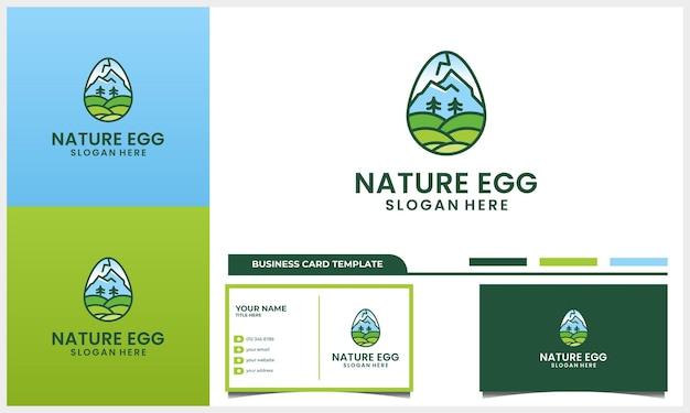 Montanha natural com conceito de design de logotipo de ovo e modelo de cartão de visita Vetor Premium