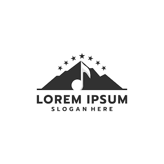 Montanha negra simples e ousada com design de logotipo musical