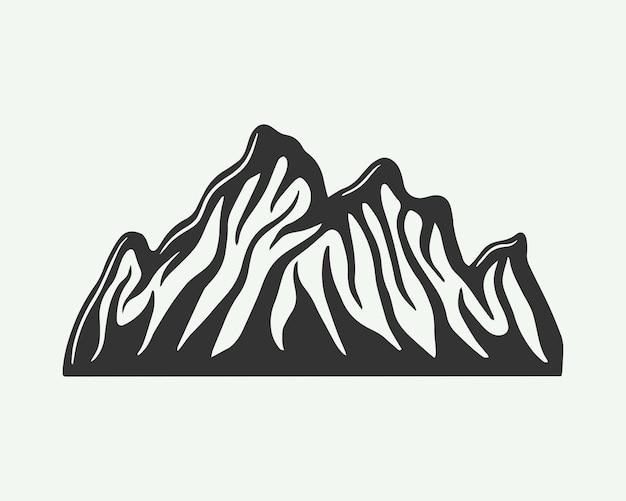 Montanha retro vintage em estilo xilogravura pode ser usada para logotipo