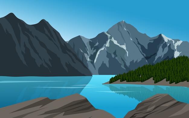 Montanha rochosa e lago illustraton