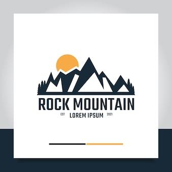 Montanha rochosa e logotipo do nascer do sol