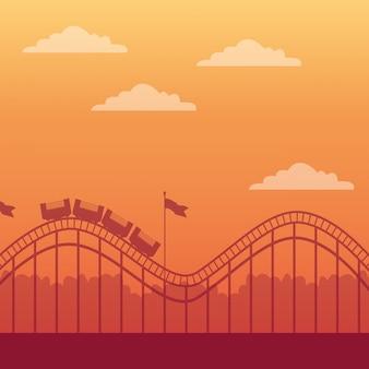 Montanha russa e parque de diversões