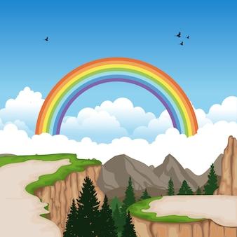 Montanha vale cliff tree natureza paisagem ilustração vetorial