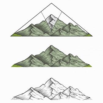 Montanha vintage desenhada de mão