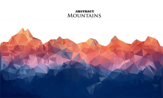 Montanhas abstratas do nascer do sol no estilo poligonal.