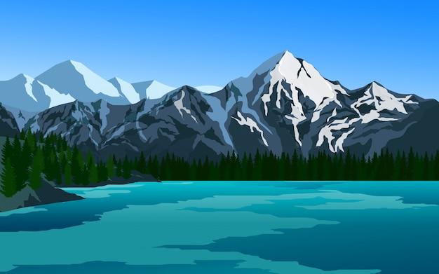 Montanhas cobertas de gelo e lago com pinheiros