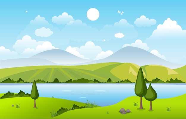 Montanhas colinas lago verde natureza paisagem céu