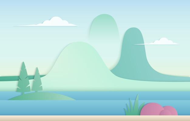 Montanhas com corte de papel de rio em paisagem em estilo japonês