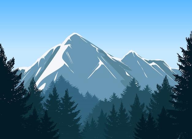 Montanhas com fundo de floresta de pinheiros