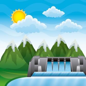 Montanhas da paisagem com hidrelétrica de barragens