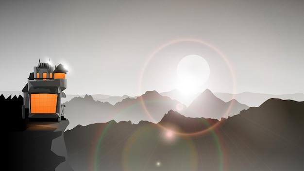 Montanhas de cor cinza