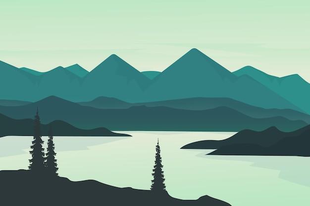 Montanhas de paisagem plana e lagos de floresta natural são lindos à tarde