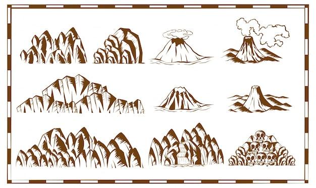 Montanhas e cachoeiras no mapa