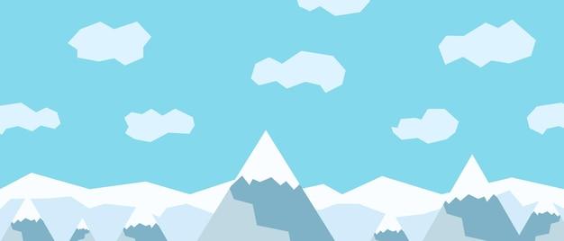 Montanhas e céu com nuvens