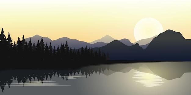 Montanhas e floresta de pinheiros com a reflexão da vista sobre a água.mountains e paisagem do rio