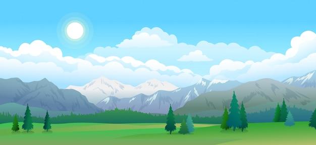 Montanhas e floresta panorama, céu com nuvens e estrelas, bela paisagem